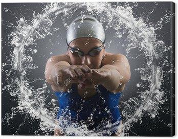 Canvastavla Simmare hoppar i vattnet.