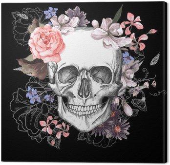 Canvastavla Skalle och blommor Day of The Dead