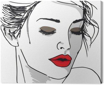 Canvastavla Skiss av vacker kvinna ansikte. Vektor, Illustration