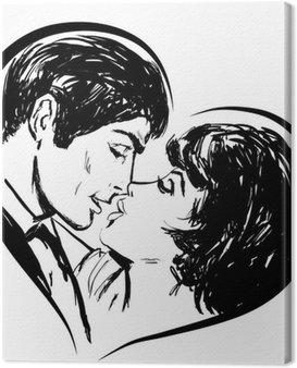 Canvastavla Skiss i svart och vitt par i kärlek kyss hjärta