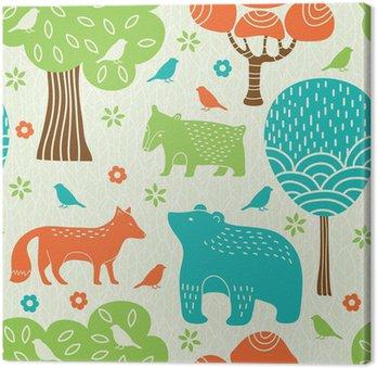 Canvastavla Skogens djur sömlösa mönster