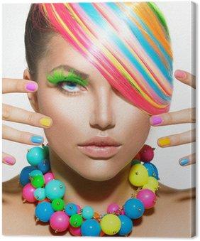 Canvastavla Skönhet flicka porträtt med färgglada smink, hår och tillbehör
