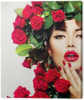 Canvastavla Skönhet Mannekäng flicka porträtt med Red Roses Hairstyle