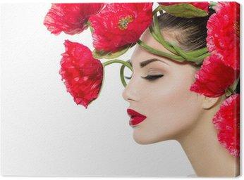 Canvastavla Skönhet Mannekäng Kvinna med röda vallmoblommor i håret