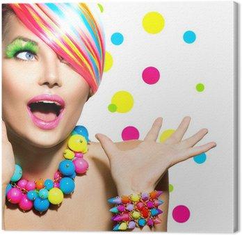 Canvastavla Skönhet porträtt med färgglada Makeup Manikyr och frisyr