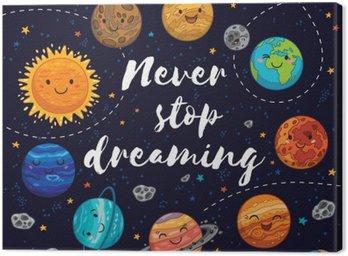Canvastavla Sluta aldrig drömma. Motivation vektor