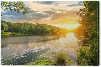 Canvastavla Solnedgång över floden i skogen