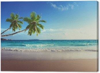Canvastavla Solnedgång på Seychellerna strand
