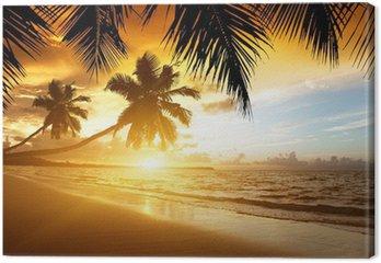 Canvastavla Solnedgång på stranden i Karibiska havet