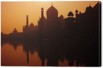 Canvastavla Solnedgång silhuetten av en Grand Taj Mahal