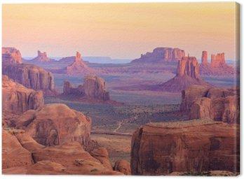 Canvastavla Soluppgång i Hunts Mesa i Monument Valley, Arizona, USA