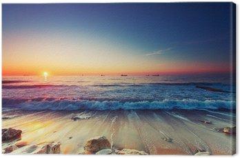 Canvastavla Soluppgång över havet