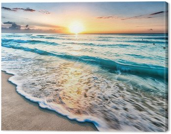 Canvastavla Soluppgång över stranden i Cancun