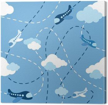 Canvastavla Sömlös flygplan mönster