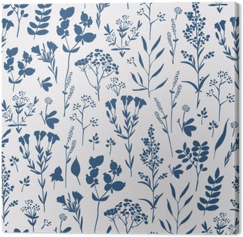 Canvastavla Sömlös handritade blommönster med örter
