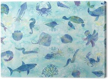 Canvastavla Sömlös marina bakgrund