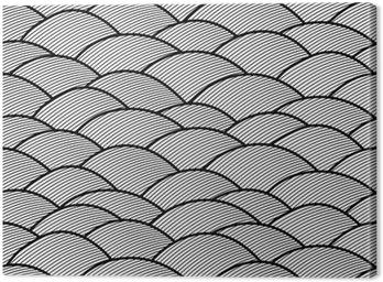 Canvastavla Sömlösa abstrakt handritade mönster, vågor bakgrund