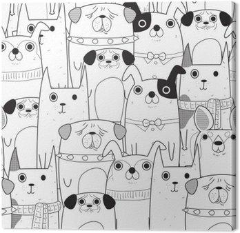 Canvastavla Sömlösa Hundar mönster