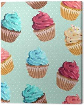 Canvastavla Sömlösa muffins och polka dot