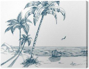 Canvastavla Sommar strand med palmer, måsar och båt på stranden