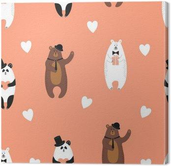Canvastavla Söt bär mönster. Seamless romantiska bakgrund med isbjörn, brunbjörn och panda.