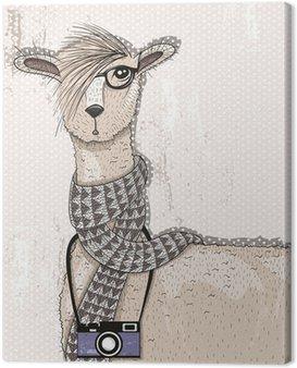 Canvastavla Söt hipster lama med fotokamera, glasögon och halsduk