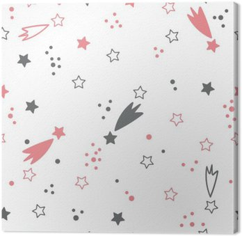 Canvastavla Söt seamless med stjärnor. utrymme bakgrund