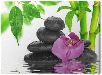 Canvastavla Spa Bakgrund svarta stenar på vatten