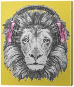Canvastavla Stående av Lion med hörlurar. Handritad illustration.