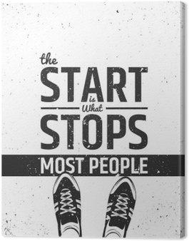 Canvastavla Starten är det som hindrar de flesta motivational inspirera citationstecken på grov bakgrund.