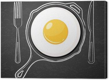 Canvastavla Stekt ägg och handritade vattenfärg kontur pan, gaffel och kniv