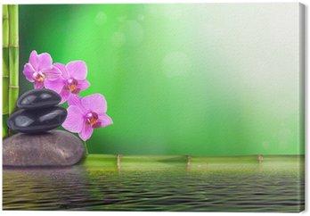 Canvastavla Stilleben gjord av bambu, orkidé och sten