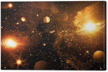 Canvastavla Stjärnor en planet och galax i ett fritt utrymme