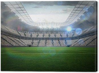 Canvastavla Stor fotbollsstadion med ljus
