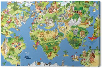 Canvastavla Stor och rolig världskartan