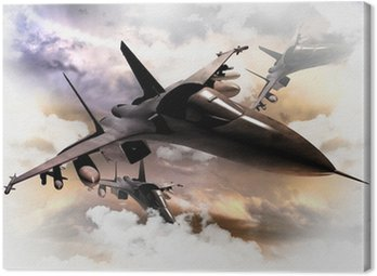 Canvastavla Stridsflygplan i åtgärd