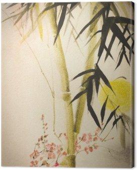 Canvastavla Sun bambu och plommon filial