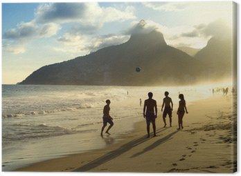 Canvastavla Sunset Silhouettes Spelar Altinho Futebol Beach Fotboll Brasilien