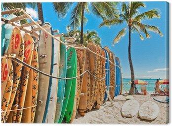Canvastavla Surfbrädor i stället vid Waikiki Beach - Honolulu