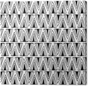 Canvastavla Svart och vitt sömlösa mönster med trianglar.