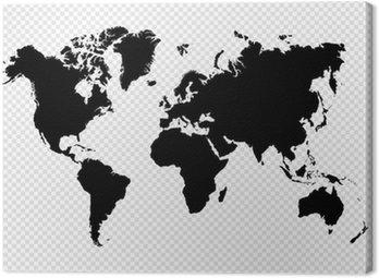 Canvastavla Svart silhuett isolerade Världskarta EPS10 vektor fil.
