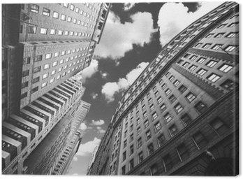Canvastavla Svartvitt foto av byggnader i Manhattan, New York.
