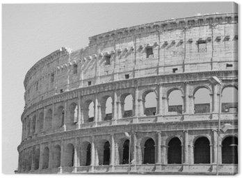 Canvastavla Svartvitt foto av den stora Colosseum i Rom i retrostil