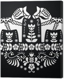 Canvastavla Svensk Dala eller Daleclarian häst blom folk mönster på svart