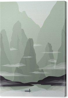 Canvastavla Sydostasien landskap vektor illustration med stenar, klippor och hav. Kina eller Vietnam främjande av turismen.