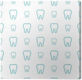 Canvastavla Tänderna på vit bakgrund. Vector tand Seamless.