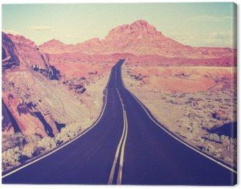 Canvastavla Tappning tonad böjda öken motorväg, resekoncept, USA