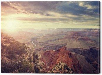 Canvastavla Tappning tonad solnedgången över Grand Canyon, en av de största turistmålen i USA.