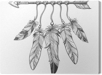 Canvastavla Tappningjulkrubba handritad pil med fjädrar. Tribal boho indisk dreamcatche talisman isolerad på vit bakgrund. vektor