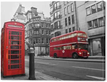 Canvastavla Telefonkiosk och röd buss i London (Storbritannien)